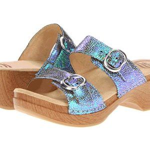 Dansko 41 Sophie Slide Sandals Iridescent Blue